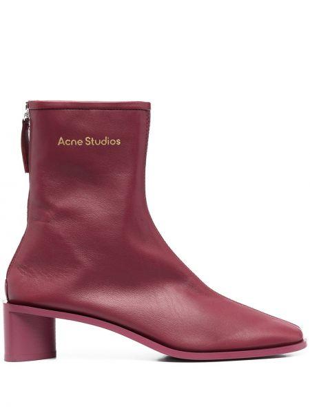 Włókienniczy burgundia buty obcasy plac na pięcie Acne Studios