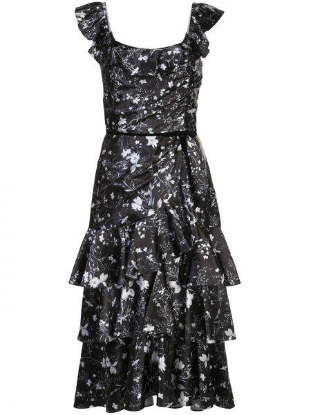 Платье миди с цветочным принтом на молнии Marchesa Notte