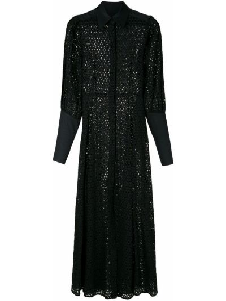 Свободное с рукавами черное платье макси Reinaldo Lourenço