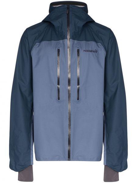 Синяя куртка с капюшоном с вышивкой на молнии Norrona