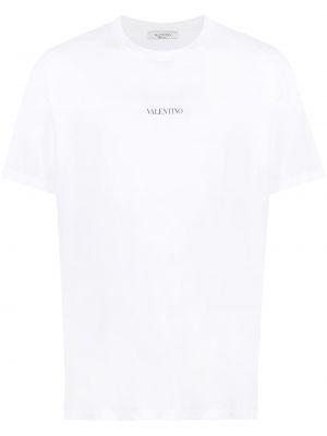 Хлопковая белая футболка с вырезом Valentino