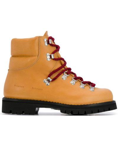 Beżowe ażurowe ankle boots skorzane Proenza Schouler