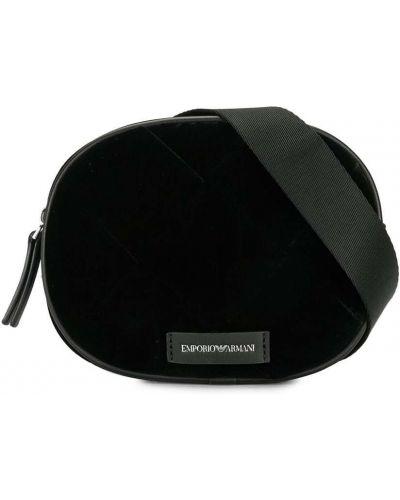 Стеганая черная сумка на плечо круглая на молнии Emporio Armani Kids