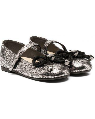 С ремешком серебряные туфли из натуральной кожи с декоративной отделкой Babywalker