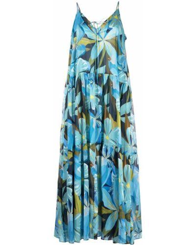 Платье с V-образным вырезом - синее Luisa Cerano