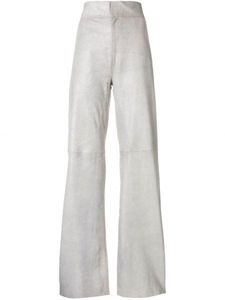 Серые прямые брюки с воротником с поясом Vanderwilt