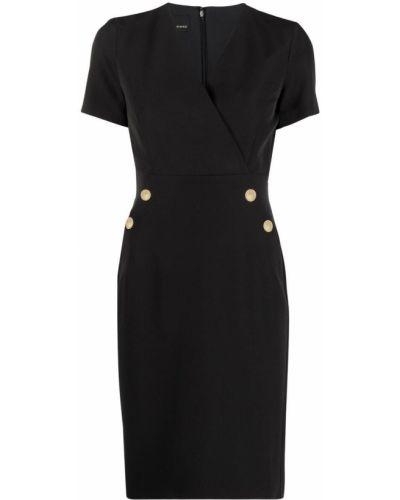 Прямое черное платье с V-образным вырезом Pinko