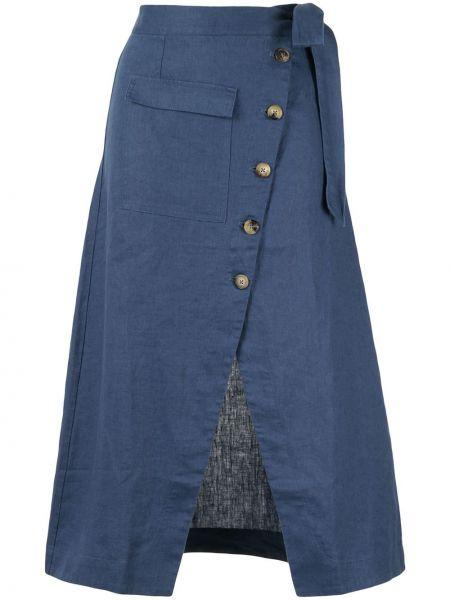 Синяя юбка миди с запахом с разрезом в рубчик Venroy