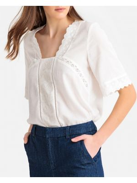 Хлопковая блузка с воротником с вышивкой с короткими рукавами Sud Express