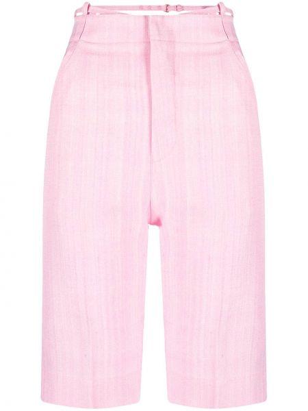 Хлопковые розовые с завышенной талией короткие шорты Jacquemus