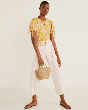 Блузка с бантом с цветочным принтом Mango