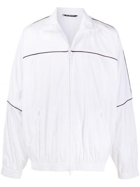 Biały długa kurtka z kieszeniami z długimi rękawami z haftem Balenciaga