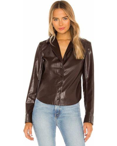 Skórzany brązowy bluzka zapinane na guziki z mankietami L'academie