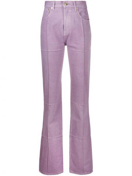 Bawełna spodni fioletowy spodnie z paskiem Jacquemus