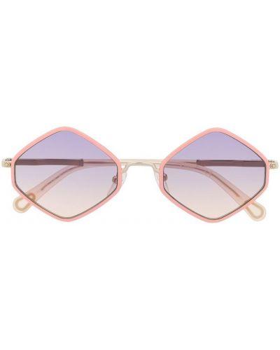 Розовые солнцезащитные очки металлические Chloé Kids