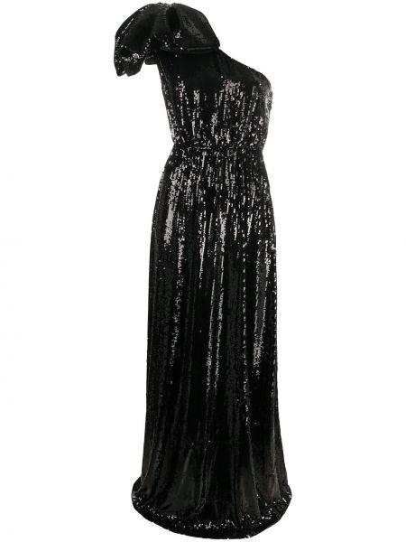 Czarna sukienka wieczorowa z wiskozy z haftem N°21