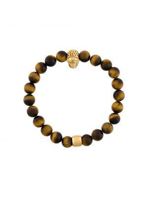 Brązowa złota bransoletka ze złota pozłacana Northskull