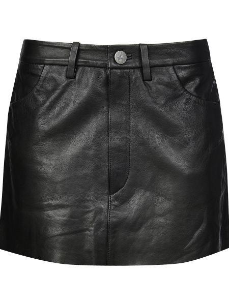 Кожаная юбка из вискозы черная Oneteaspoon