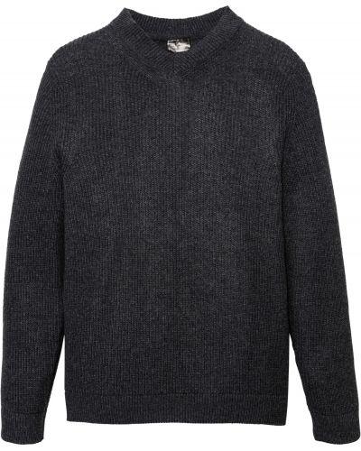 Серый вязаный пуловер с V-образным вырезом Bonprix