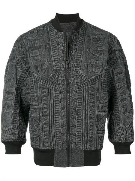 Черная куртка с манжетами на молнии в рубчик Ktz
