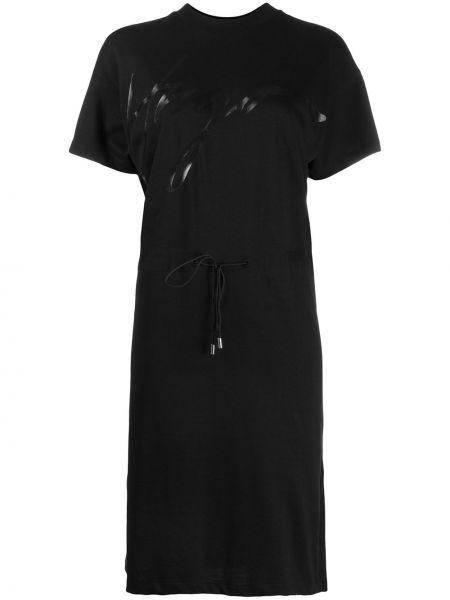 Черное платье миди с вырезом с короткими рукавами круглое Boss Hugo Boss