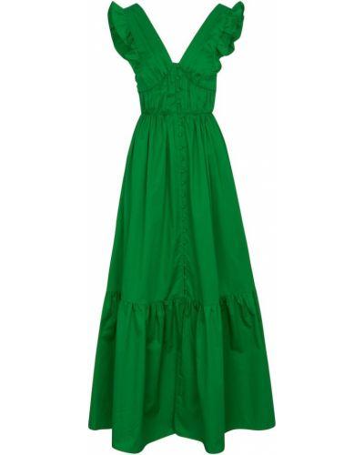 Ватное хлопковое зеленое платье макси Self-portrait