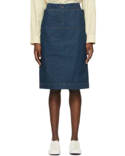 Niebieska spódnica ołówkowa z paskiem Lemaire