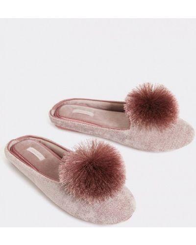 Домашние тапочки на каблуке розовый Oysho