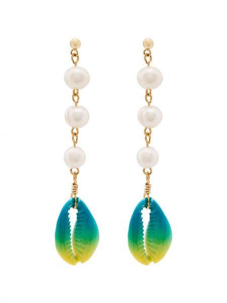 Niebieskie złote kolczyki sztyfty perły Venessa Arizaga