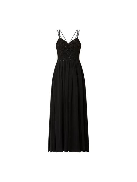 Czarna sukienka wieczorowa rozkloszowana z szyfonu Laona