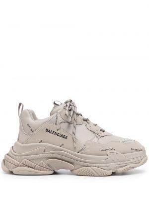 Кожаные кроссовки - серые Balenciaga