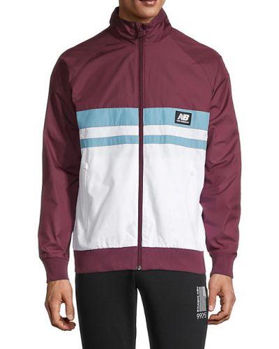 Белая длинная куртка с воротником с карманами New Balance