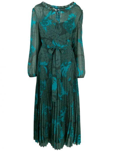Платье миди в цветочный принт - зеленое Escada Sport