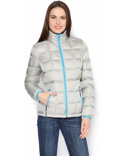 Утепленная куртка с воротником стойкой с перьями Emporio Armani