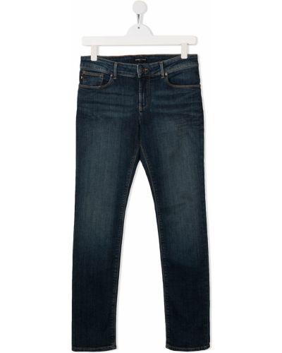 Облегающие синие джинсы-скинни на пуговицах Emporio Armani Kids