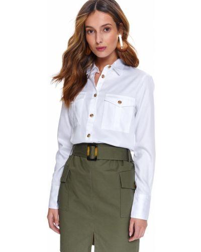 Biała spódnica maxi zapinane na guziki z długimi rękawami Top Secret