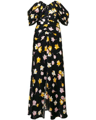 Платье миди с цветочным принтом со складками Self-portrait