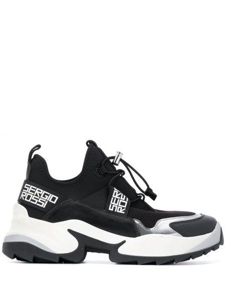 Skórzany czarny skórzane sneakersy zasznurować okrągły Sergio Rossi
