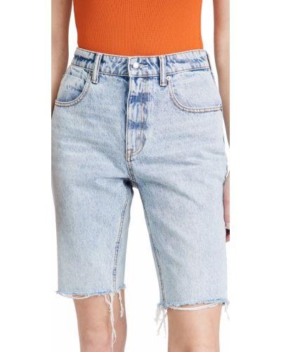 Хлопковые синие джинсовые шорты с карманами Denim X Alexander Wang