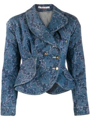 Приталенная синяя джинсовая куртка на пуговицах с вырезом Vivienne Westwood Pre-owned