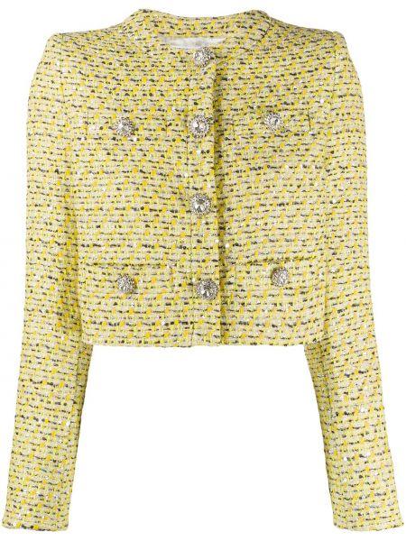 Желтый однобортный удлиненный пиджак твидовый Alessandra Rich