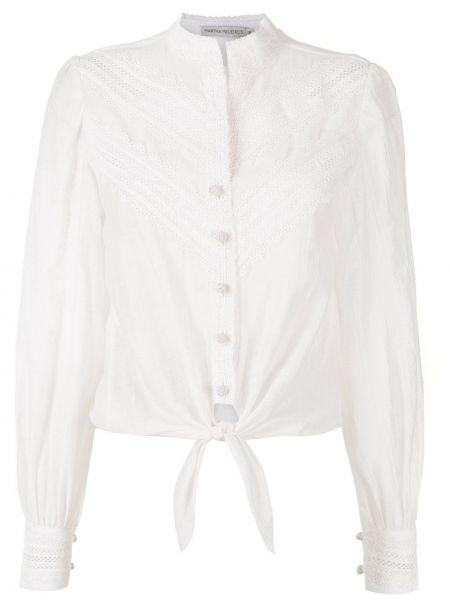 Хлопковая с рукавами белая футболка Martha Medeiros