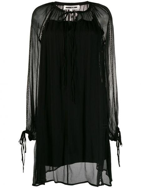 Черное платье макси с длинными рукавами с вышивкой Mcq Alexander Mcqueen
