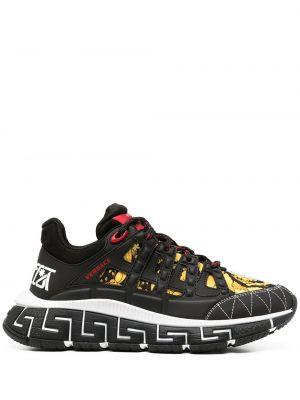 Кроссовки на шнуровке - черные Versace