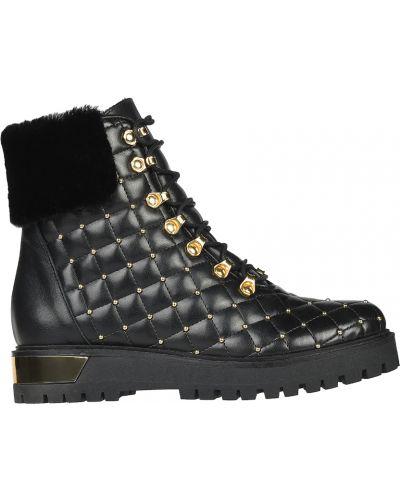 Кожаные ботинки осенние на каблуке L'estrosa