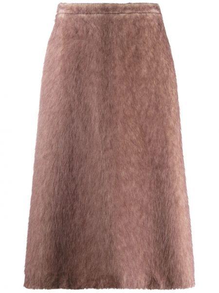 Коричневая юбка миди из альпаки с карманами Rochas