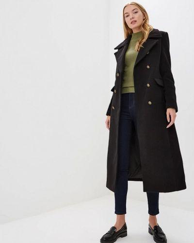 Черное пальто с капюшоном Gaudi