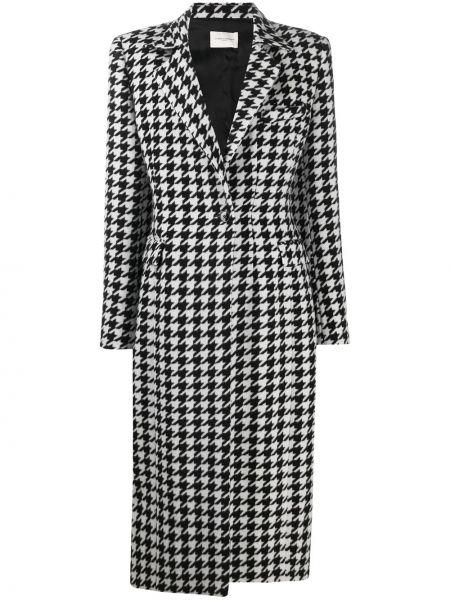 Шерстяное черное длинное пальто с карманами Giuseppe Di Morabito