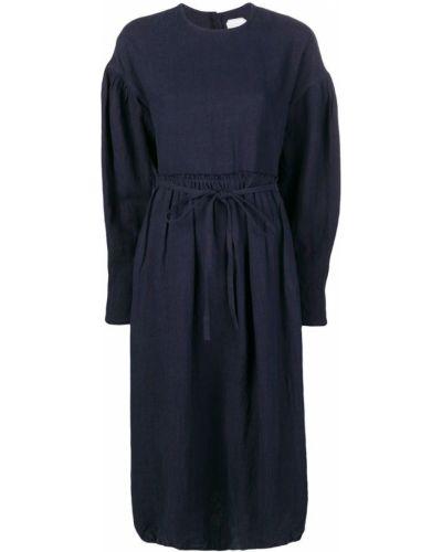 Свободное плиссированное темно-синее льняное платье école De Curiosités