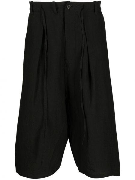 Хлопковые черные брюки с завязками с высокой посадкой Forme D'expression